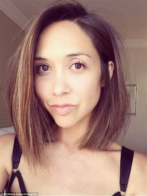 new hairstyle for a 63 year old brunette woman myleene klass shows off new klob haircut as she leaves
