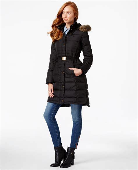tommy hilfiger puffer jacket fur hood tommy hilfiger faux fur trim belted puffer coat in black
