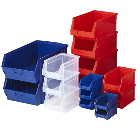 plastic parts bins shelf stacking storage blue garage box