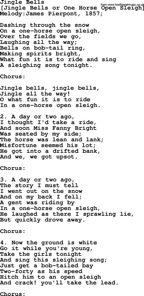 An American Song American Song Lyrics For Jingle Bells With Pdf