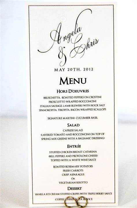 Items Similar To Wedding Menu Card Tea Length Buffet Menu Cards