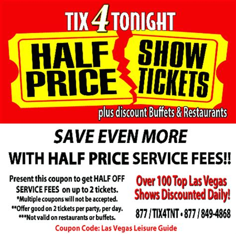 haircut coupons las vegas tix4tonight discount coupon on las vegas leisure guide