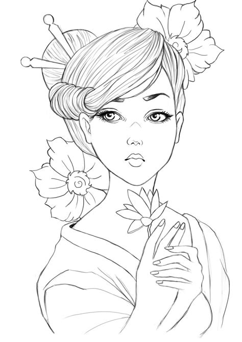 japanese geisha drawings geisha lineart by raffa3le on deviantart