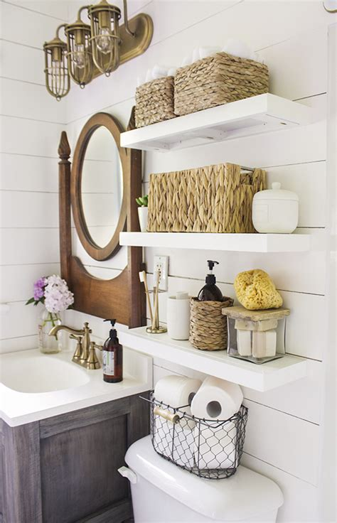 Country Bathroom With Shelves Installed Above Toilet Decoist Bathroom Shelves Ideas