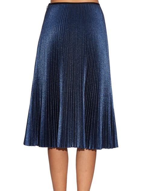 knit pleated midi skirt cedric charlier metallic knit pleated midi skirt in blue