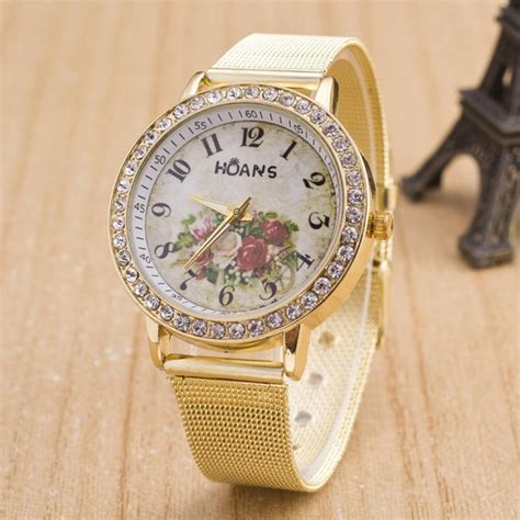 gold pattern style watch creative fashion quartz watches women ladies crystal