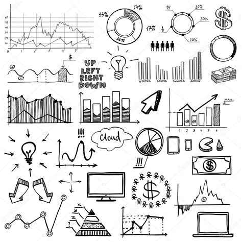draw chart draw doodle web charts business finanse elements on