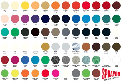 sprayon spray paints standard lacquer spray paint colour chart
