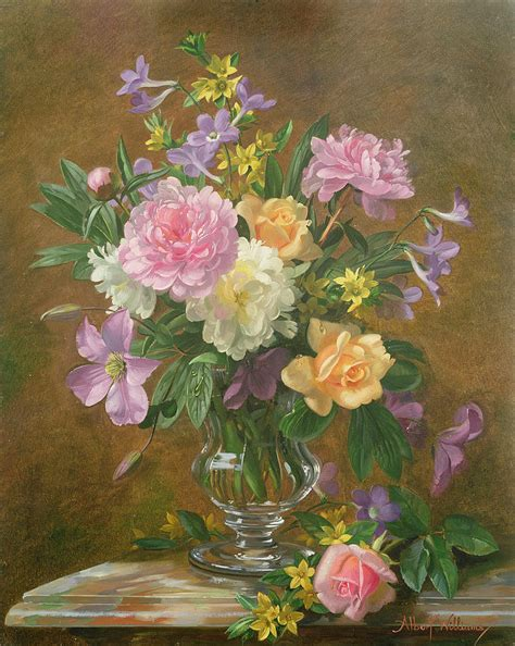 Paintings Of Flowers In A Vase by Vase Of Flowers Painting By Albert Williams