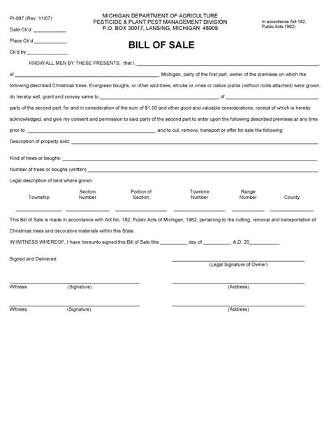 Free Michigan Plant Bill Of Sale Form Pdf Word Do It Yourself Forms Bill Of Sale Template Michigan
