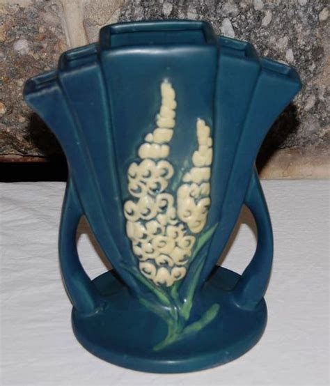 roseville pattern numbers roseville pottery foxglove blue fan vase 47 8 from