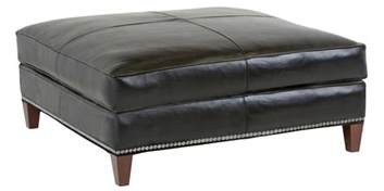 Black Leather Storage Ottoman Large Black Leather Square Cocktail Ottoman