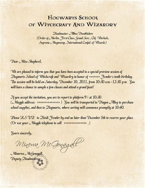 Hogwarts Acceptance Letter Birthday Invitation 25 Best Ideas About Harry Potter Invitations On Harry Potter Birthday Harry Potter