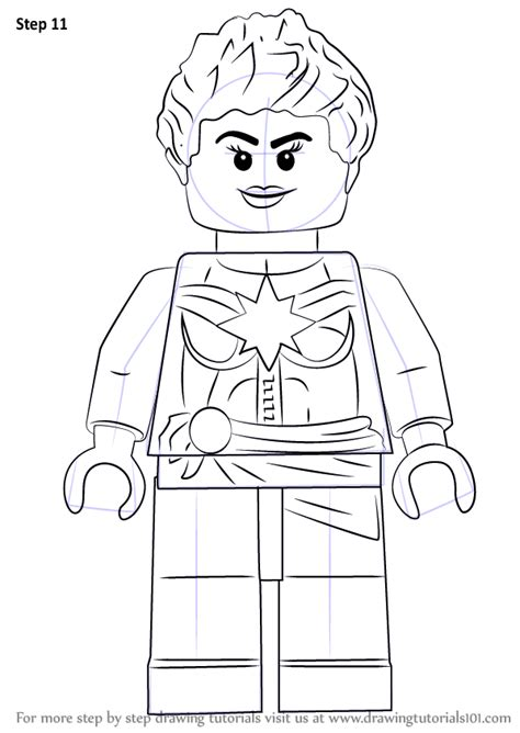 tutorial for lego marvel superheroes learn how to draw lego captain marvel aka carol danvers