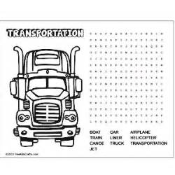 Image of printable transportation word search puzzle