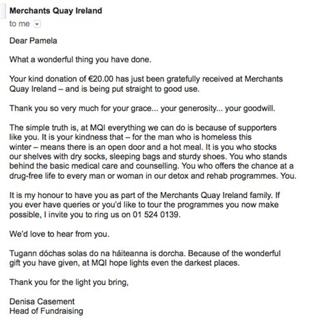 Fundraising Letter Notes donor email thank you from merchants quay ireland quot a