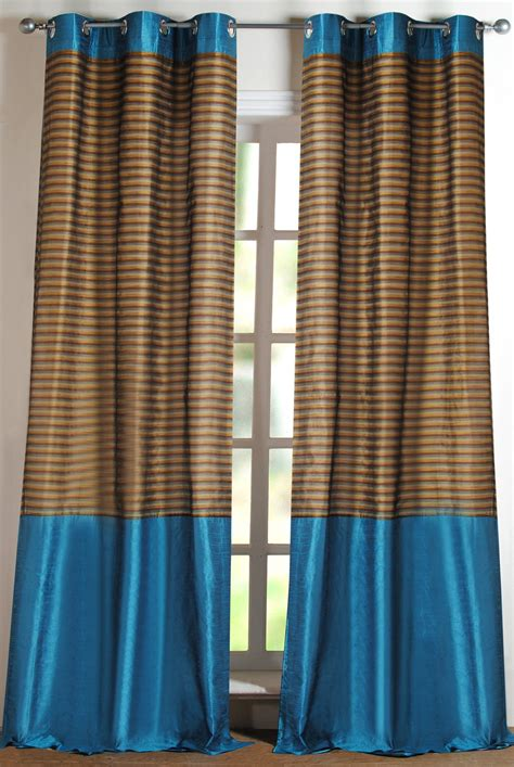 turquoise and gold curtains curtain stripband turquoise 9ft