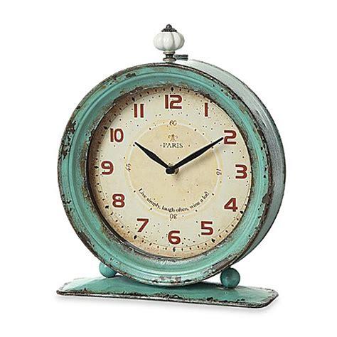 bed bath and beyond clocks creative co op metal tabletop clock in aqua bed bath beyond