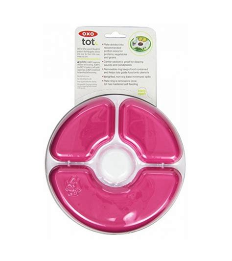 oxo tot divided plate in pink