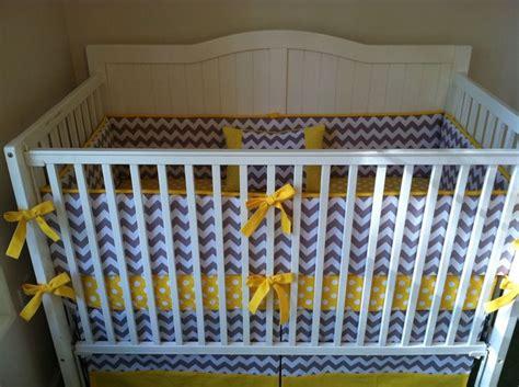 yellow and gray crib bedding modern yellow and gray chevron and polka dot crib bedding