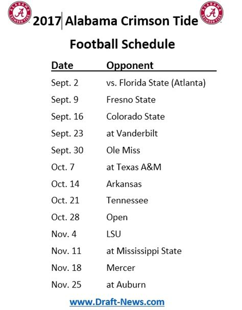 Alabama Football Schedule 2018 Printable