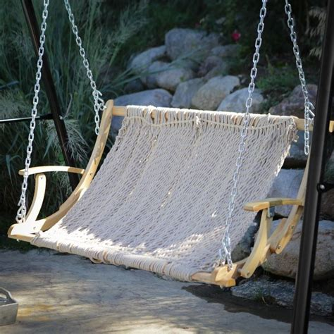 hanging patio swing double rope 2 person outdoor patio garden hammock swing
