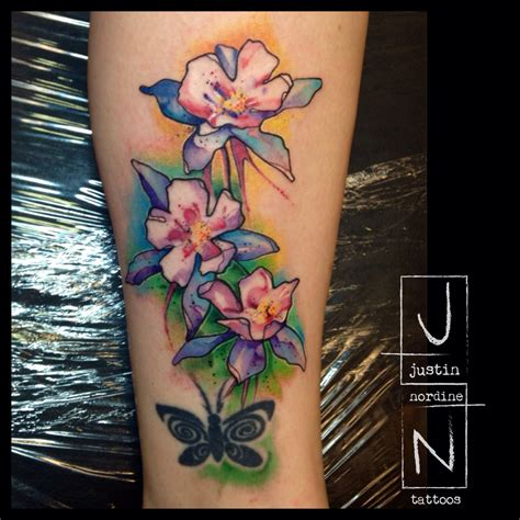 watercolor tattoos instagram justin nordine tattoos columbines www justinnordinetattoos