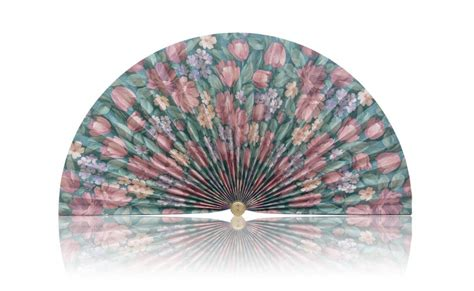 decorative pleated window fans light green with mauve tulips pleated decorative fan