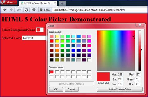 html color code picker html5 color picker javaworld