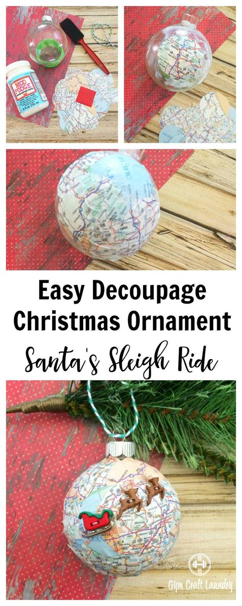 easy decoupage ideas easy decoupage santa s sleigh map ornament decoupage