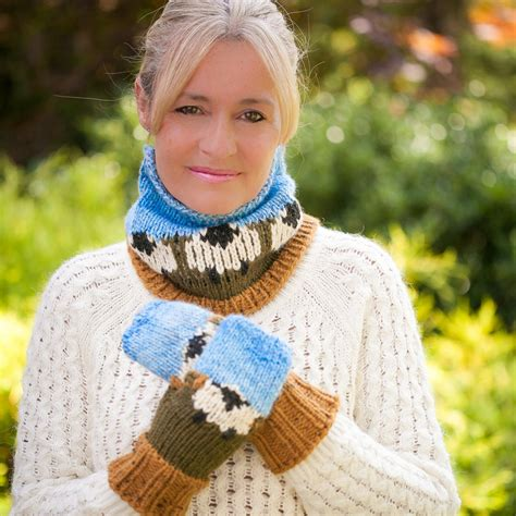 knitting loom cowl loom knit sheep themed hat mitten and cowl pattern set