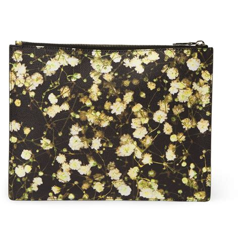 Print Faux Leather Pouch lyst givenchy printed faux leather pouch in black for