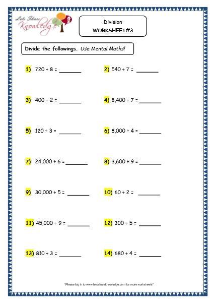 Divide By 4 Worksheet