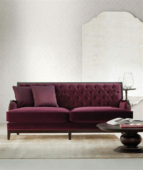 sofa with quilted backrest and low lying classic