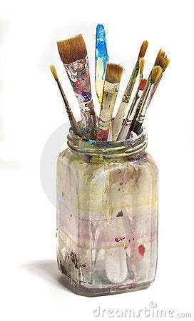 dirty jar  paint brushes royalty  stock images
