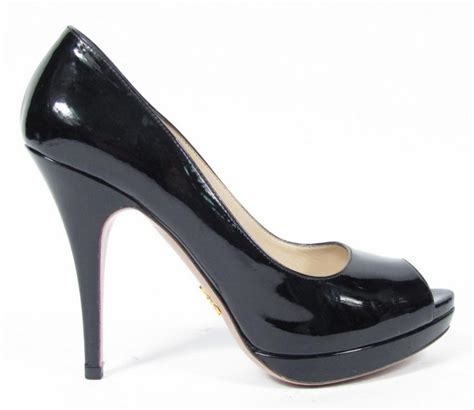 black open toe high heels prada black patent leather open peep toe platform pumps