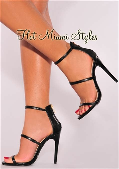 Faux Leather High Heel Sandals black faux leather high heel sandals