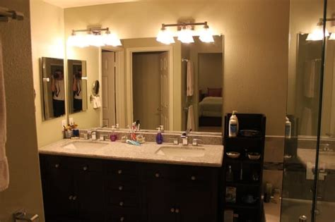 master bathroom lighting master bath with lighting glass and vanity install by
