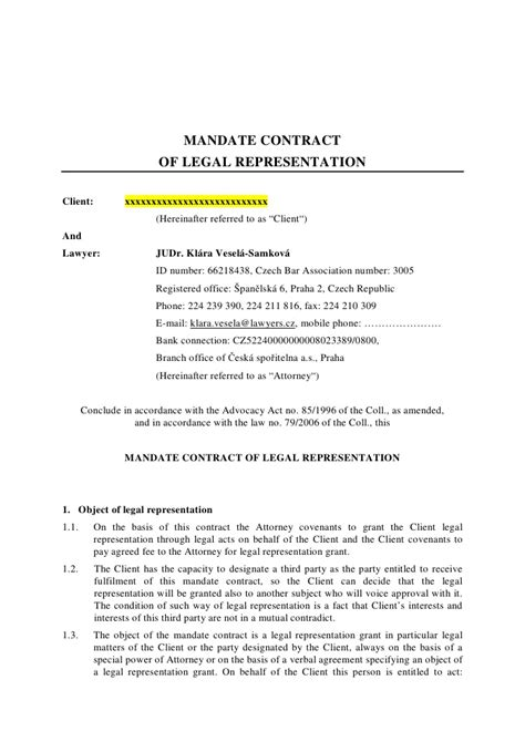 representation agreement template mandate contract of representation client and lawyer