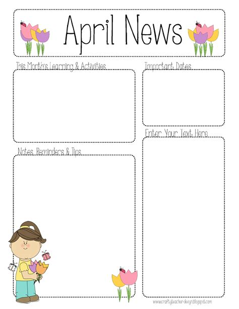 templates for teachers april newsletter for all grades teaching ideas