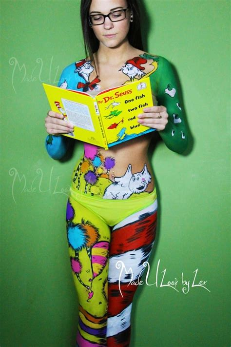 dr suess characters recreated with body painting