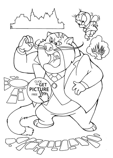 Chip And Dale Rescue Rangers Coloring Pages by Chip And Dale And Cat Coloring Pages For