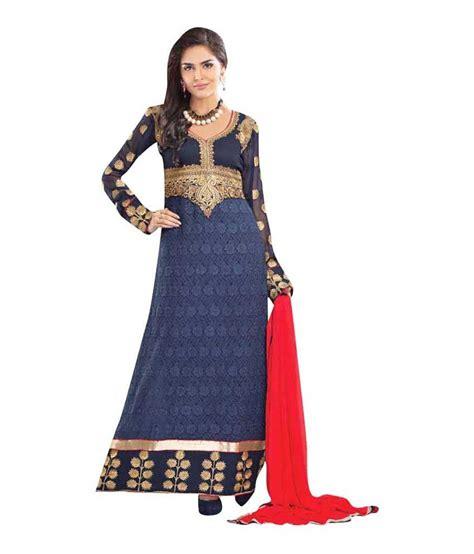 Hamida Dress Blue by Lakhani Hamida Sultan Ali Blue Colour Embroidered Anarkali
