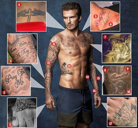 david beckham s 40 tattoos their meanings guru a look back at david beckham s 40 tattoos and their