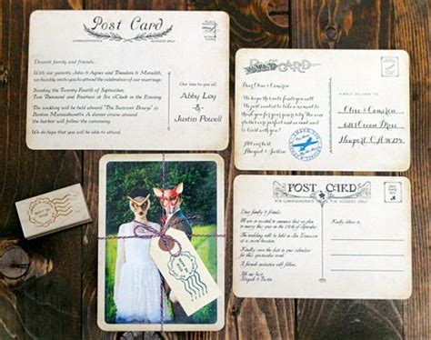 wedding invite postcards vintage postcard wedding invitations wedding stationery