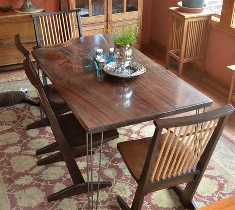 black walnut slab kitchen table with turquoise inlay