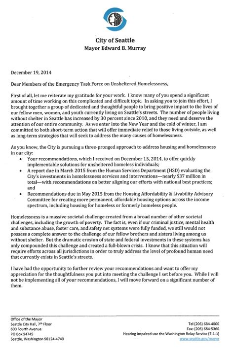 Donation Letter For Homeless Mayor Murray Letter To Members Of Homelessness Task 12 19 14