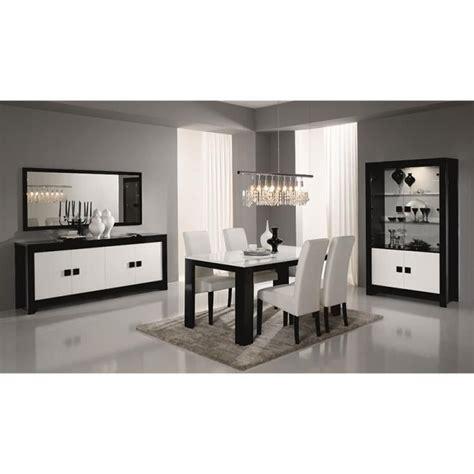 salle 224 manger compl 232 te noir et blanc laqu 233 design bianka 2 table buffet l 160 cm achat