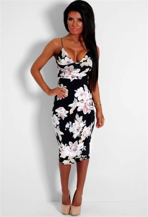 Get The Look Black White Floral Dresses For 100 by Marta Black Floral Spaghetti Midi Dress Pink