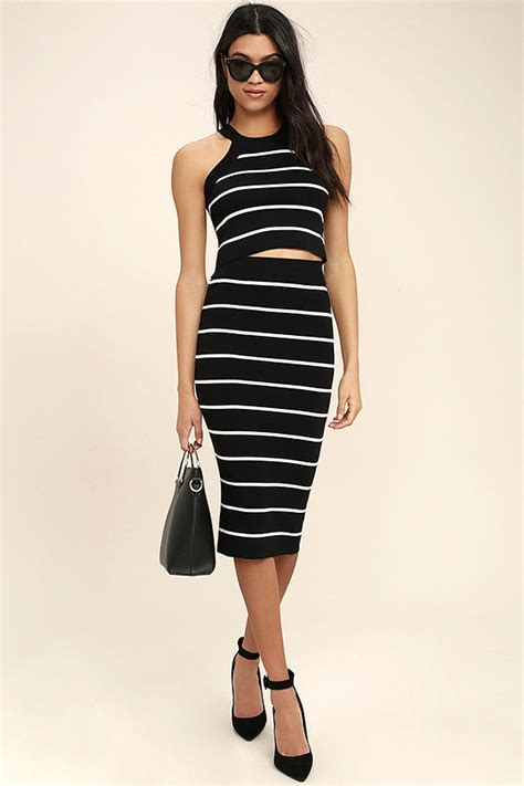 chic black and white skirt striped skirt pencil skirt